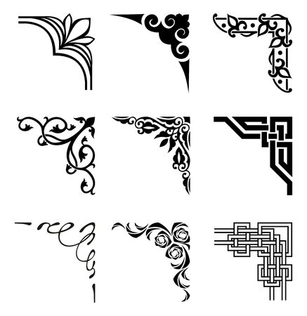 set of ornamental corners in different style Çizim