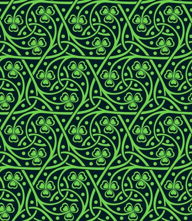 vector celtic ornamental seamless pattern with shamrock