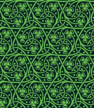 shamrock seamless: vector celtic ornamental seamless pattern with shamrock