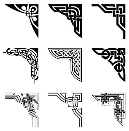 conjunto de esquinas ornamentales en el estilo celta
