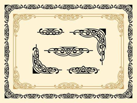set of vector ornamental borders and design elements