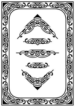 ベクトルの装飾的なボーダーおよび設計要素のセット  イラスト・ベクター素材