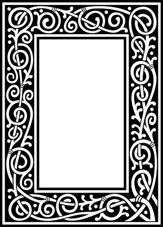 vector de marco floral de fantasía en blanco y negro