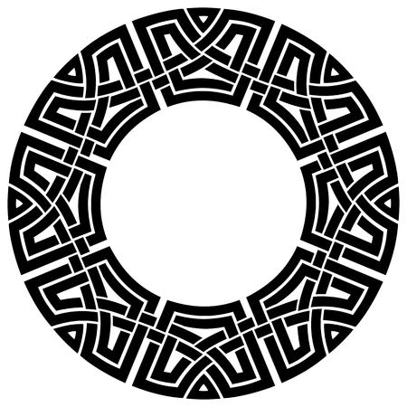 marcos redondos: marco ornamental c�ltico redondo, negro sobre blanco Vectores