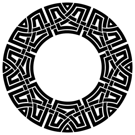 black pattern: ornamental round celtic frame, black on white