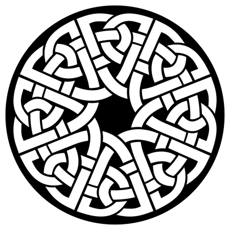 ornamental round celtic frame, black on white