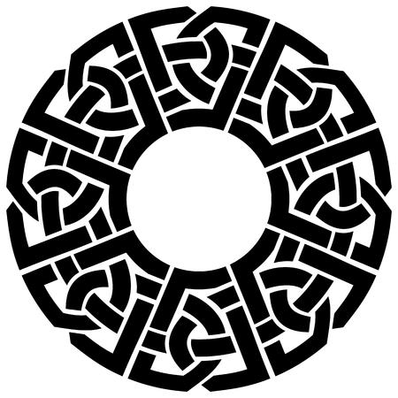 ornamental round celtic frame, black on white