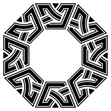 観賞オクタゴン ケルト フレーム、白地に黒