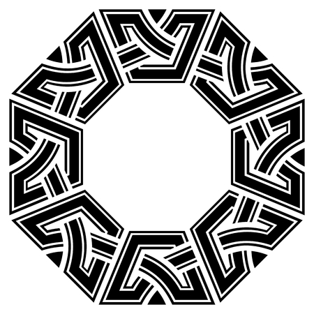 ornamental octagon celtic frame, black on white