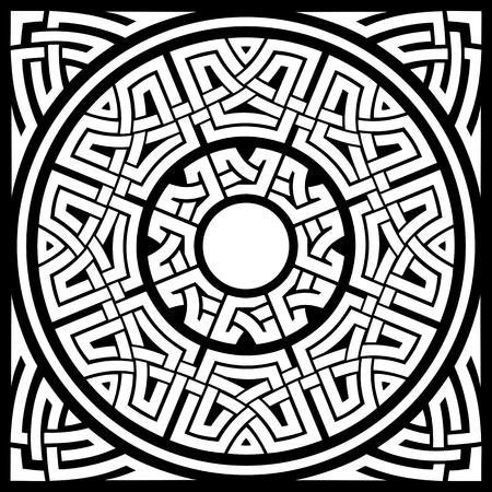 set of circle celtic ornamental frames and corners