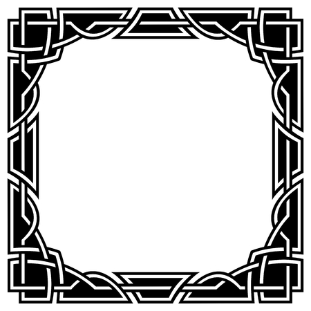 ornamental square celtic border, black and white