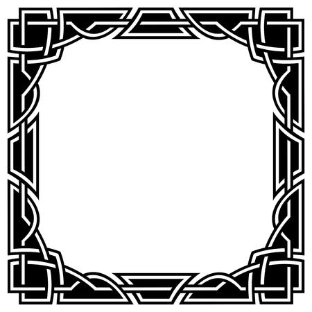 ornement fronti�re celtique carr�, noir et blanc Illustration