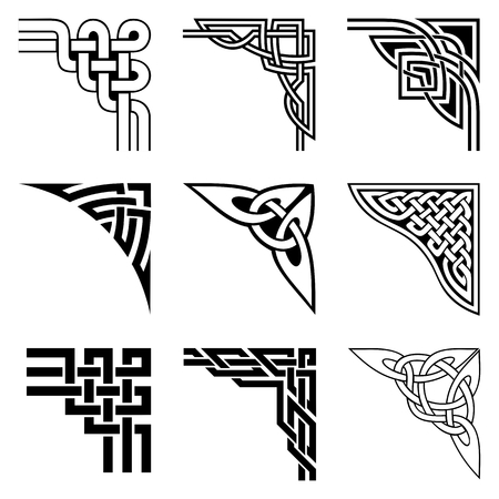 set of ornamental corners in celtic style  イラスト・ベクター素材