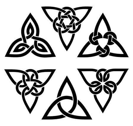 vector celtic trinity knot set, zwart op wit