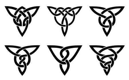 ケルト族の結び目のセット、白の上に黒をベクトルします。  イラスト・ベクター素材