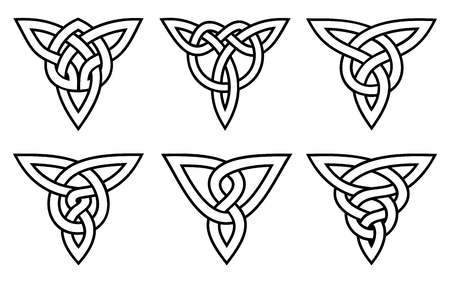 vector celtic knot set, white with stroke