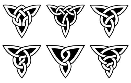 ケルト族の結び目のセット、黒背景に白をベクトルします。