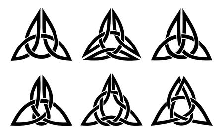 ケルト三位一体の結び目のセット、白の上に黒をベクトルします。
