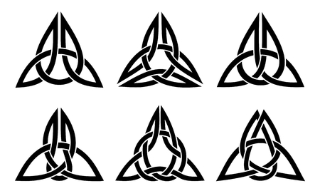 vector celtic trinity knot set, zwart op wit