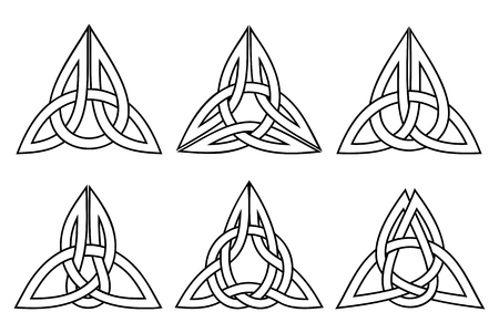 trinity: vector celtic trinity knot set, white with stroke
