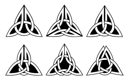 vector celtic trinity knot set, white on black background