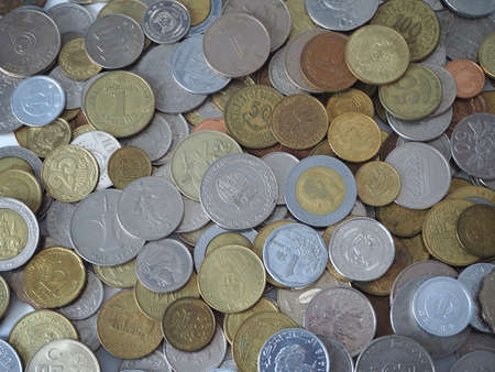 Coins from around the world. International currency.