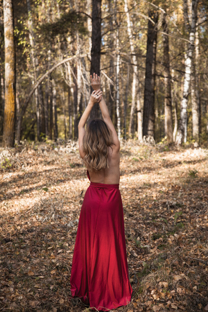 beautiful girl in red dress standing with her back in the autumn forest
