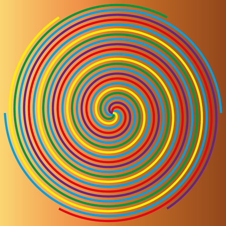 volute: Color spiral on a beige background, abstraction
