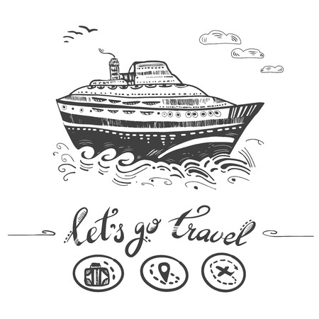 Cruise travelling in ocean. Ship illustration.Travel vacation concept Illustration