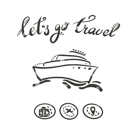 Cruise travelling in ocean. Ship vector illustration.Travel vacation concept Illustration