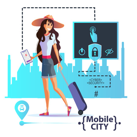 Young girl with a suitcase and a smartphone in her hand travels around the city. Mobile city, safe city, excursions. Travel vacation concept