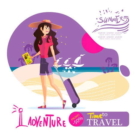 Young girl with a suitcase in a hat travels around the world, the sea, the sun and the beach. Leaflet travel agency.Travel vacation concept