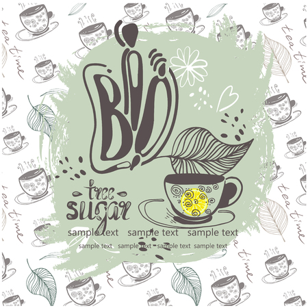 Stock vector illustration pattern hand drawn tea pair, bio tea leaves, free sugar, natural. 일러스트