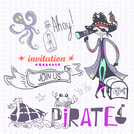 cute pirate of hand drawn characters and icons, birthday concept part. vector illustration eps 10 向量圖像