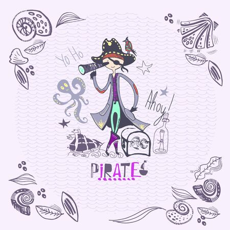 cute pirate of hand drawn characters and icons, birthday concept part.
