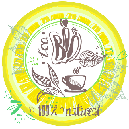Cup of tea bio,  a hand drawn eco tea pair, tea leaves, lemon on white background.  For Invitation cards decoration, wrapping, textiles, paper. Design element for packaging. Vector illustration