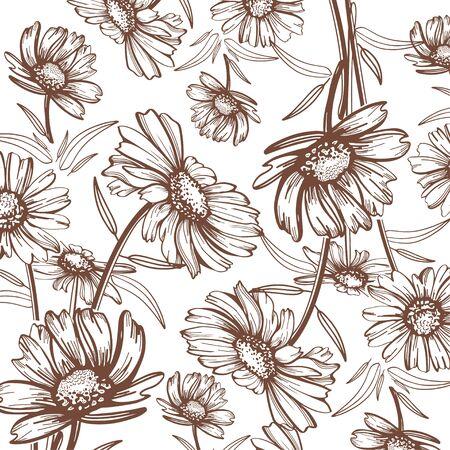 Natürliche Zeichnungen Kamille Dekoratives Gestaltungselement für Verpackungen, Einladungskartendekoration, Verpackung, Textilien, Papier.