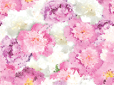 Peonía Seamless textura de mosaico Ilustración de vector