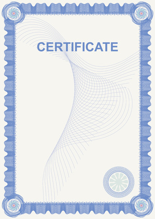 certificate border: White certificate. Blue border of lines Illustration