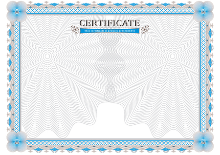 official: Light official certificate. Blue frame