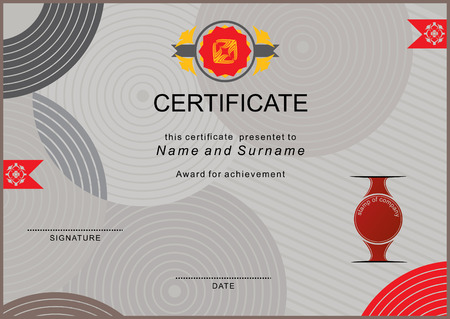 official: Grey official certificate with red flat emblem Illustration