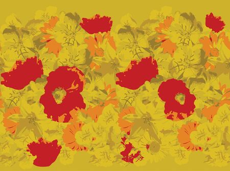 yellow flower: Yellow flower pattern with red poppies. Seamless flower textureTrace