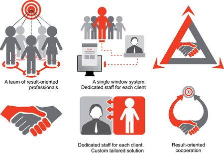 tailored: Red-grey logistics icons. A team of result-oriented professionals. Dedicated staff for each client. Custom tailored solution. Result-oriented cooperation.