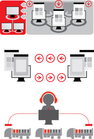 ecommerce icons: Logistics icons. E-commerce icons. Network Illustration