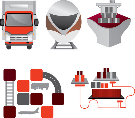 overseas: Red-grey logistics icons. Truck, rail transport, overseas transportation, multimodal transportation. Cellarage for unitization of cargo and dispatch of cargo. Cargo association