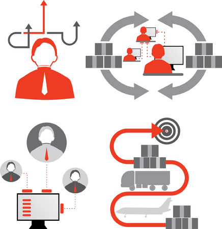 Logistics icons. Delivery of cargo. Supply chain. Industry business solution Illustration