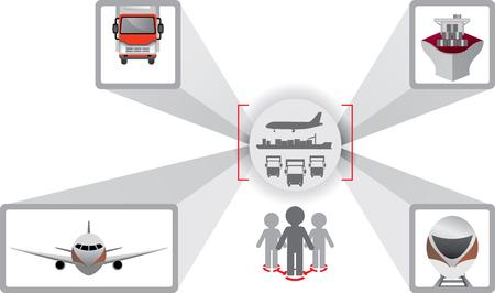 fleet: Logistics icons. Truck, car, cargo ship and aircraft. Logistics scheme. Logistics optimization. Fleet management
