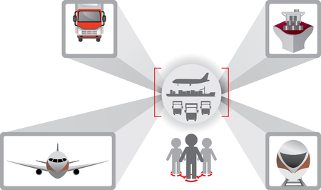Logistics icons. Truck, car, cargo ship and aircraft. Logistics scheme. Logistics optimization. Fleet management