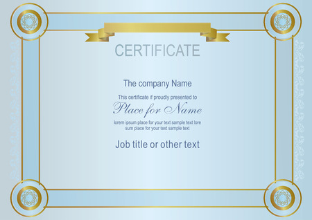 ruban or: Blue official certificate. Gold ribbon, gold frame.
