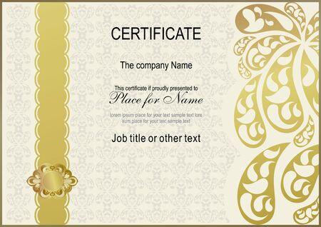 ruban or: Ornamental certificate. Gold ribbon, gold ornate, paisley pattern Illustration